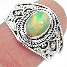 2.08cts solitaire natural multi color ethiopian opal silver ring size 8 t10265