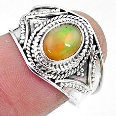 1.96cts solitaire natural multi color ethiopian opal silver ring size 8 t10269
