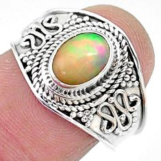 2.09cts solitaire natural multi color ethiopian opal silver ring size 8 t10274