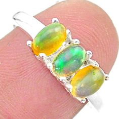2.88cts solitaire natural multi color ethiopian opal silver ring size 8 t23855