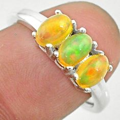 2.48cts solitaire natural multi color ethiopian opal silver ring size 8 t24017