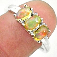 2.49cts solitaire natural multi color ethiopian opal silver ring size 8 t24018
