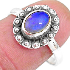 2.31cts solitaire natural multi color ethiopian opal silver ring size 8 t2728