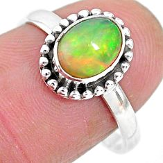 2.42cts solitaire natural multi color ethiopian opal silver ring size 8 t2742
