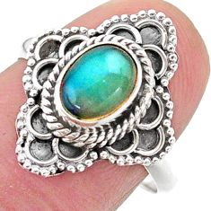 2.18cts solitaire natural multi color ethiopian opal silver ring size 8 t27557