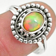 2.09cts solitaire natural multi color ethiopian opal silver ring size 8 t2783