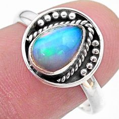 2.42cts solitaire natural multi color ethiopian opal silver ring size 8 t28344