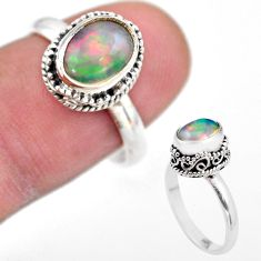 3.01cts solitaire natural multi color ethiopian opal silver ring size 8 t44515