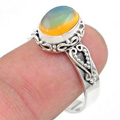 2.71cts solitaire natural multi color ethiopian opal silver ring size 8 t44728