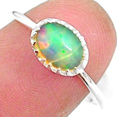 1.83cts solitaire natural multi color ethiopian opal silver ring size 8 t8936