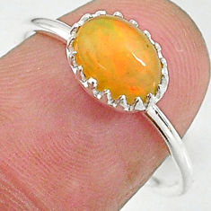 2.19cts solitaire natural multi color ethiopian opal silver ring size 8 t8996