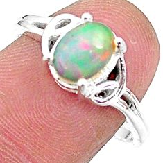 2.29cts solitaire natural multi color ethiopian opal silver ring size 8 t9089