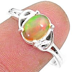 2.09cts solitaire natural multi color ethiopian opal silver ring size 8 t9096