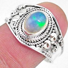 1.96cts solitaire natural multi color ethiopian opal silver ring size 9 t10241