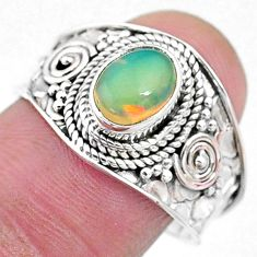 2.08cts solitaire natural multi color ethiopian opal silver ring size 9 t10249