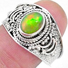 2.17cts solitaire natural multi color ethiopian opal silver ring size 9 t10257