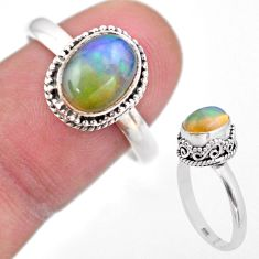 3.14cts solitaire natural multi color ethiopian opal silver ring size 9 t44512
