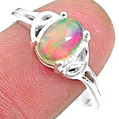 2.15cts solitaire natural multi color ethiopian opal silver ring size 9 t9098