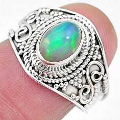 1.84cts solitaire natural multi color ethiopian opal silver ring size 7.5 t10243