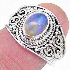2.09cts solitaire natural multi color ethiopian opal silver ring size 7.5 t10245