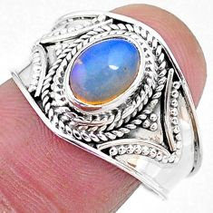 2.08cts solitaire natural multi color ethiopian opal silver ring size 8.5 t10252