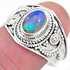 1.96cts solitaire natural multi color ethiopian opal silver ring size 8.5 t10253