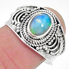 2.09cts solitaire natural multi color ethiopian opal silver ring size 8.5 t10261