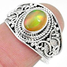 1.96cts solitaire natural multi color ethiopian opal silver ring size 7.5 t10264