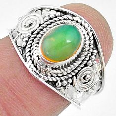 2.05cts solitaire natural multi color ethiopian opal silver ring size 7.5 t10268