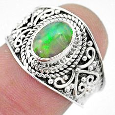 2.18cts solitaire natural multi color ethiopian opal silver ring size 7.5 t10271
