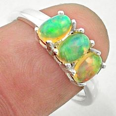 2.48cts solitaire natural multi color ethiopian opal silver ring size 7.5 t24010