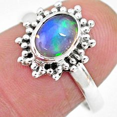 2.12cts solitaire natural multi color ethiopian opal silver ring size 7.5 t2708