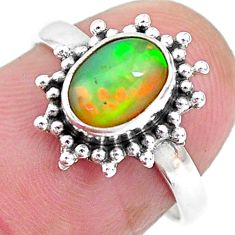 2.10cts solitaire natural multi color ethiopian opal silver ring size 6.5 t2715