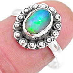 2.10cts solitaire natural multi color ethiopian opal silver ring size 7.5 t2724