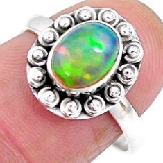 2.30cts solitaire natural multi color ethiopian opal silver ring size 7.5 t2733