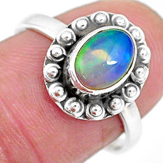 2.10cts solitaire natural multi color ethiopian opal silver ring size 7.5 t2739