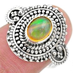 2.04cts solitaire natural multi color ethiopian opal silver ring size 8.5 t27425