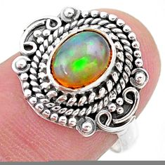 2.08cts solitaire natural multi color ethiopian opal silver ring size 6.5 t27432