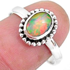 2.38cts solitaire natural multi color ethiopian opal silver ring size 8.5 t2757