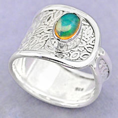 1.34cts solitaire natural multi color ethiopian opal silver ring size 7.5 t32349