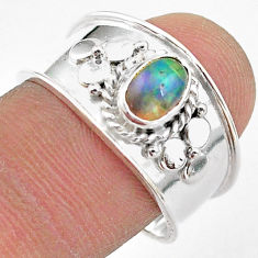 1.56cts solitaire natural multi color ethiopian opal silver ring size 8.5 t42292