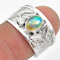 1.52cts solitaire natural multi color ethiopian opal silver ring size 8.5 t42299