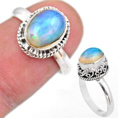 3.04cts solitaire natural multi color ethiopian opal silver ring size 6.5 t44507
