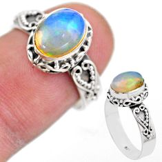 3.11cts solitaire natural multi color ethiopian opal silver ring size 6.5 t44508