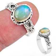 3.11cts solitaire natural multi color ethiopian opal silver ring size 7.5 t44516