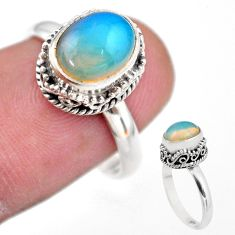 3.22cts solitaire natural multi color ethiopian opal silver ring size 7.5 t44517