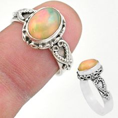 2.89cts solitaire natural multi color ethiopian opal silver ring size 6.5 t44523