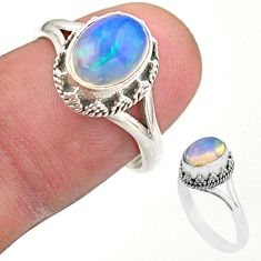 3.11cts solitaire natural multi color ethiopian opal silver ring size 7.5 t44536