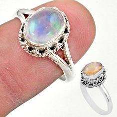 2.95cts solitaire natural multi color ethiopian opal silver ring size 7.5 t44539