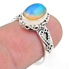 3.08cts solitaire natural multi color ethiopian opal silver ring size 6.5 t44733